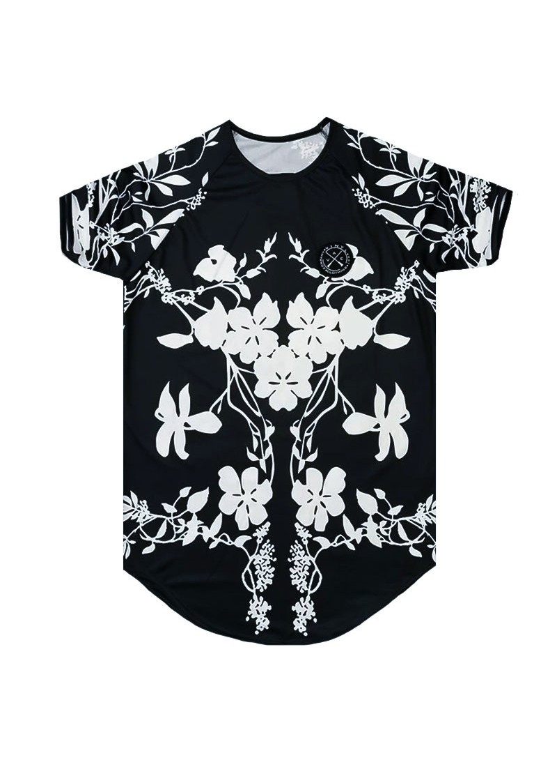 VINYL ART CLOTHING BLACK T-SHIRT WITH ALL OVER FLORAL PRINT