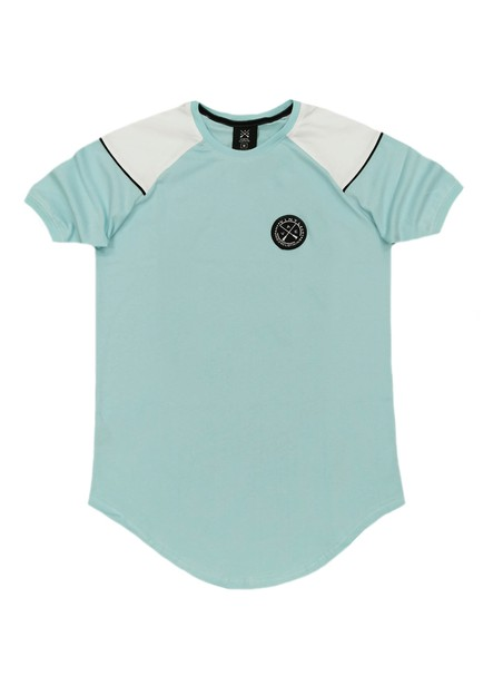 VINYL ART CLOTHING TEAL T-SHIRT WITH COLOR CONTRAST SHOULDER