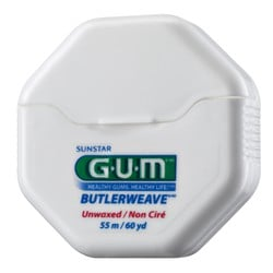 Gum  Dental Floss ButlerWeave Unwaxed  55m (1055)