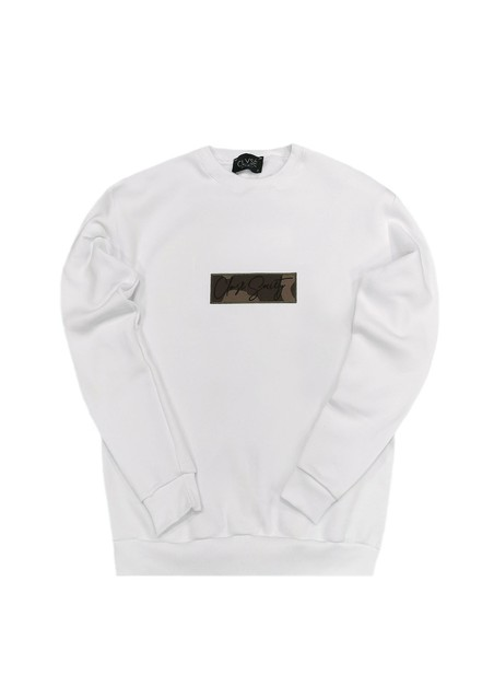 CLVSE SOCIETY WHITE CREW NECK WITH CAMO PATCH