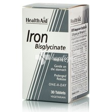 Health Aid IRON Bisglycinate 30mg (Iron with Vitamin C), 30tabs