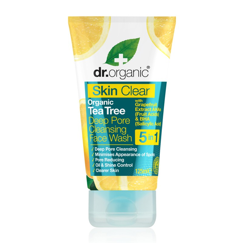 Skin Clear Organic Tea Tree Deep Pore Cleansing Face Wash 125ml