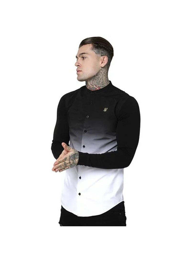 SikSilk L/S Fade Grandad Shirt - Black & White