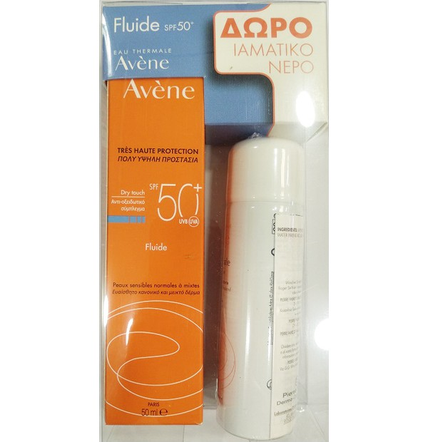 AVENE Sun Promo Dry Touch Fluid SPF50+ ( 50ml ) & Δώρο Eau Thermale Thermal Spring Water ( 50ml )