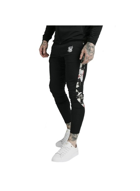 SikSilk​ Scope Floral Panel Track Pants - Black