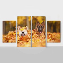 4panel two dogs in leaves