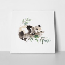 Panda watercolor on tree 389975077 a