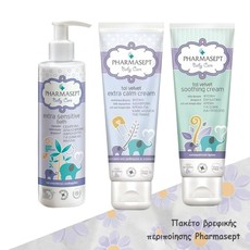 Pharmasept Baby Care Tol Velvet Extra Calm Cream Κρέμα Αλλαγής Πάνας 150ml + Tol Velvet Soothing Cream Ενυδατική Κρέμα 150ml + Extra Sensitive Bath Αφρόλουτρο 250ml.