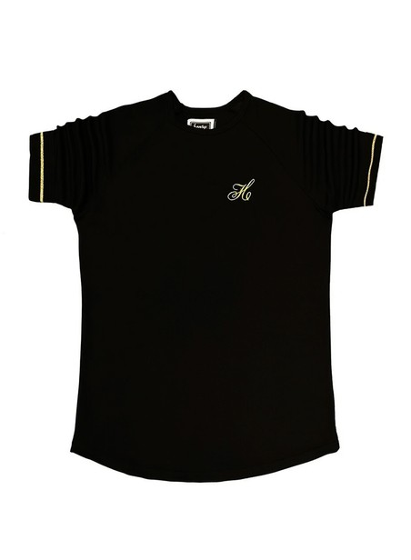 HENRY CLOTHING BLACK T-SHIRT WITH GOLD SLEEVE STRIPES