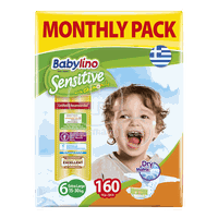 BABYLINO - MONTHLY PACK Babylino Sensitive Extra Large No6 (15-30 Kg) - 160 πάνες