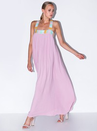 Pleated dress with wrap back