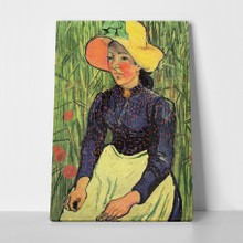 Van gogh   young peasant woman with straw hat a