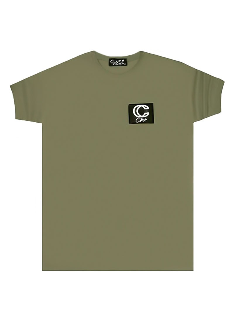 CLVSE SOCIETY KHAKI T-SHIRT 506 WITH 3D LOGO