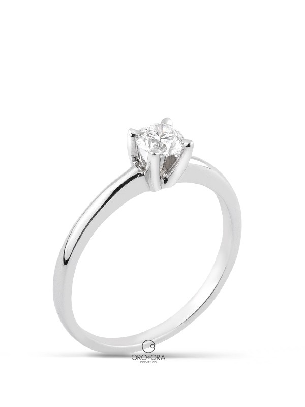 Solitaire Ring White Gold K18 with Diamond 0,40ct