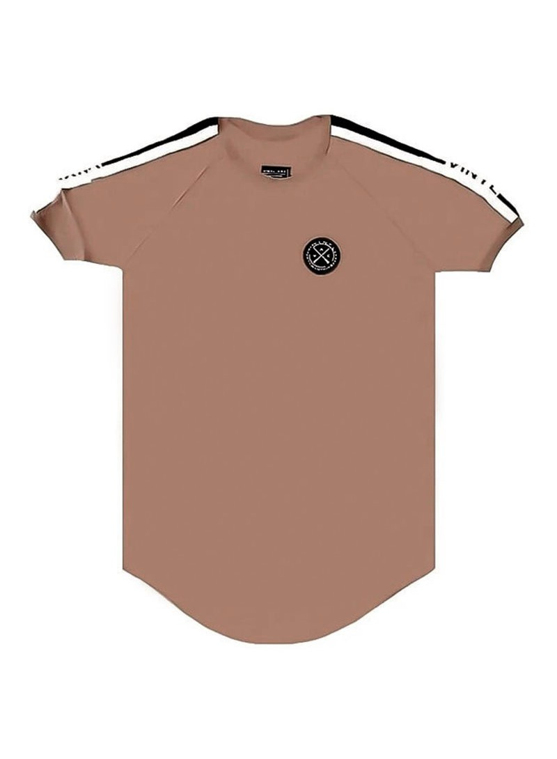 VINYL ART CLOTHING BROWN TAPED T-SHIRT