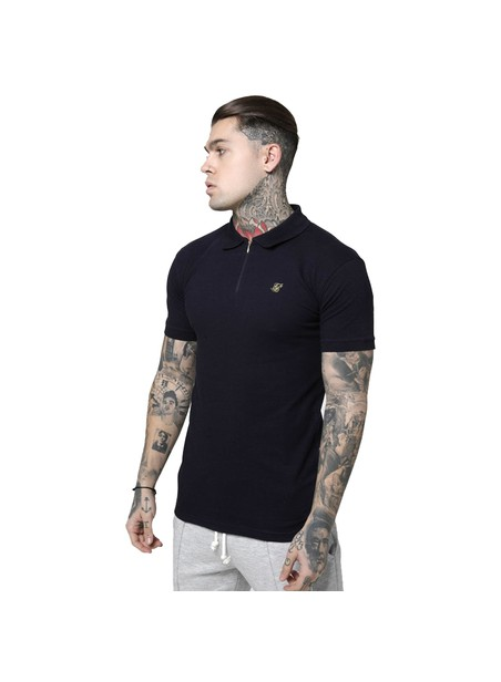 SikSilk S/S Stretch Fit Zip Collar Polo - Navy