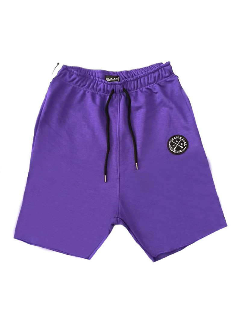 VINYL ART CLOTHING PURPLE SHORTS WITH SIDED STRIPES