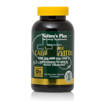 NATURE'S PLUS - Cal 1200mg/Mag 600mg/VitD3 1000iu with Vitamin K2 - 60chew.tabs (chocolate)