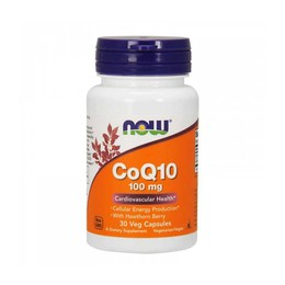 Now Foods CoQ10 100mg with Hawthorn Berry 30 Veg Capsules