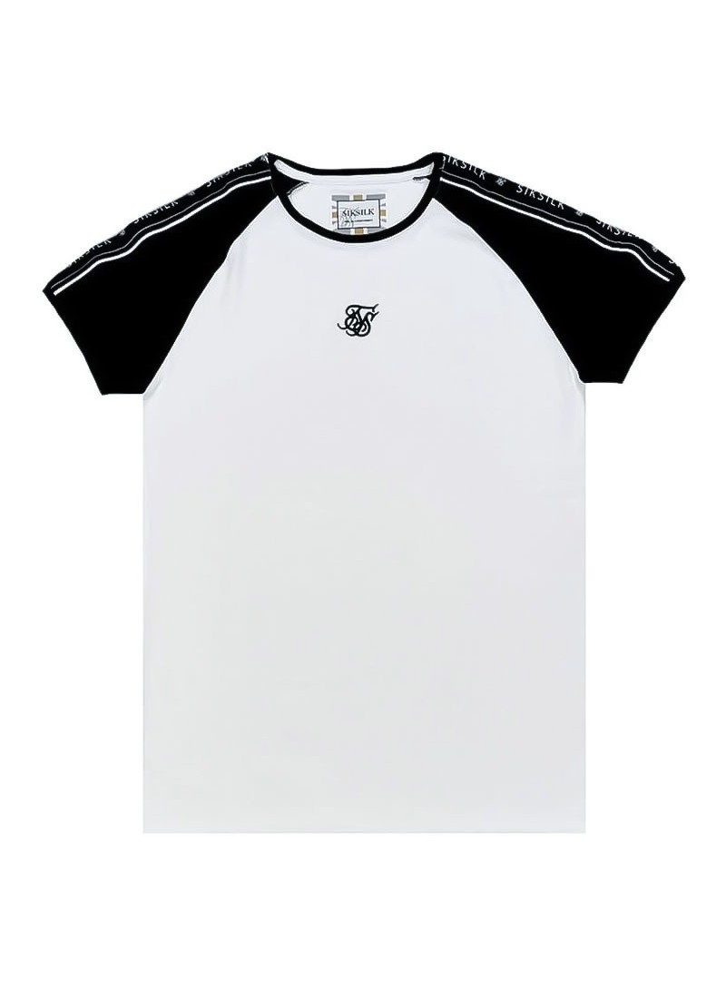 SikSilk  S/S Raglan Straight Hem Tape Gym Tee in White