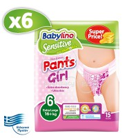 BABYLINO - SENSITIVE Pants Girl No6 (16+kg) - 90 πάνες