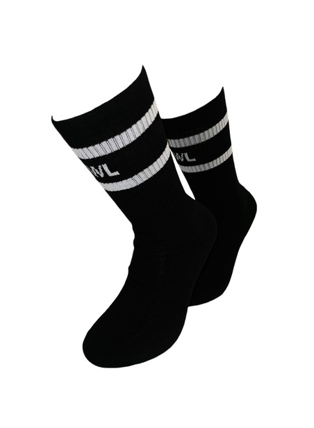OWL CLOTHES MID SOCKS BLACK STRIPES FUTURA OWL
