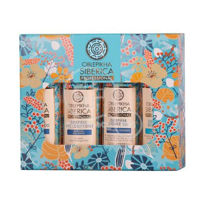 NATURA SIBERICA - PROMO PACK OBLEPIKHA Shampoo Nutrition and Repair - 50ml, Hair Conditioner Nutrition & Repair - 50ml, Energizing Freshness Shower Gel - 50ml & Body Milk Nutrition & Hydration - 50ml