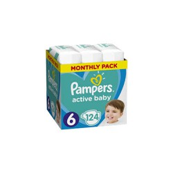 Pampers Active Baby Πάνες Μέγεθος 6 (Extra Large) 15+Kg 124 Τεμάχια