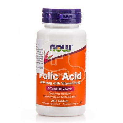 NOW - Folic Acid 800mcg with Vitamin B12 - 250tabs