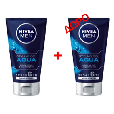 NIVEA MEN - AQUA GEL styling μαλλιών - 150ml - 1+1 δώρο