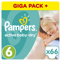 Pampers Active Baby Dry Giant Pack No6 (XL) 15+kg 66 Πάνες