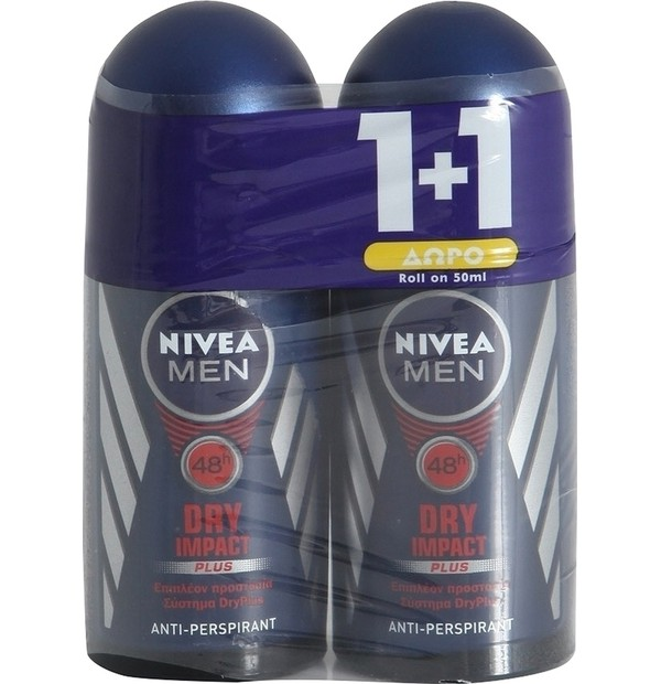 NIVEA MEN DEO DRY IMPACT ROLL-ON ΑΝΔΡΙΚΟ 50ML PR(1+1)