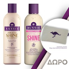 Aussie Miracle Shine Shampoo Σαμπουάν 300ml + Miracle Shine Conditioner Μαλακτική Κρέμα 250ml.
