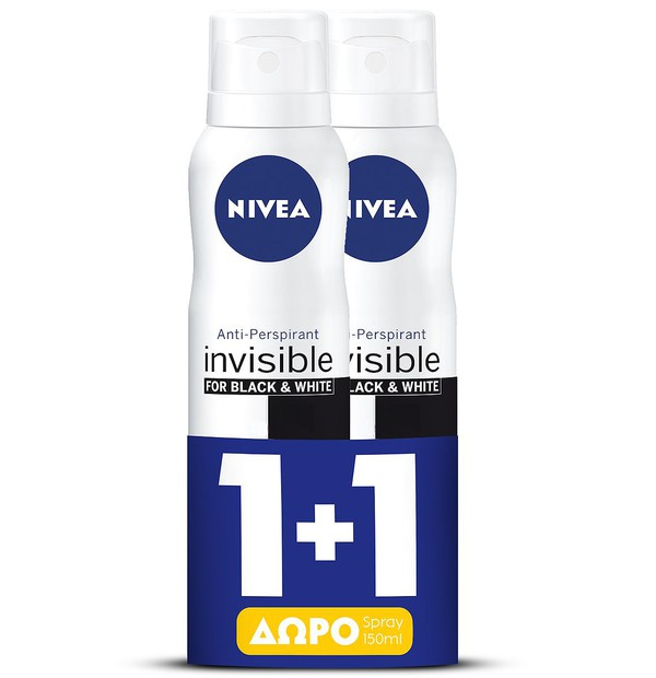 NIVEA Spray Invisible Black & White Active 150ml 1+1 Δώρο