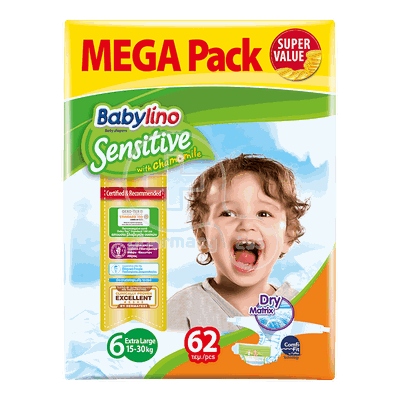 BABYLINO - MEGA PACK Babylino Sensitive Extra Large No6 (15-30 Kg) - 62 πάνες