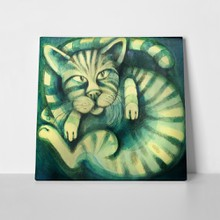 Cat illustration dark green 67864564 a