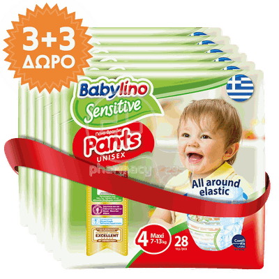 BABYLINO - PROMO PACK 3+3 ΔΩΡΟ SENSITIVE Pants Unisex Maxi No4 (7-13kg) - 28τεμ.