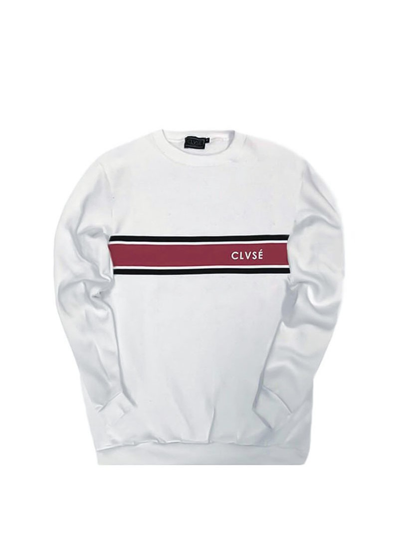 CLVSE SOCIETY WHITE RED LINE SWEATSHIRT
