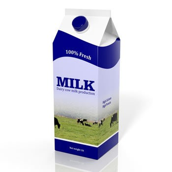 3D milk carton box isolated on white — Stock Photo