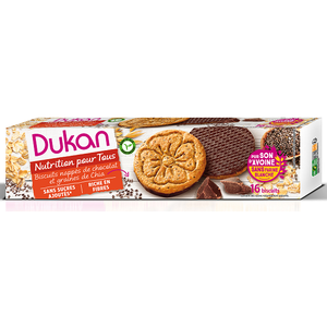 Dukan expert oat biscuits with chocolate coating   chia seeds  160 gr