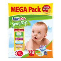 BABYLINO - MEGA PACK Babylino Sensitive Maxi No4 (7-18 Kg) - 78 πάνες