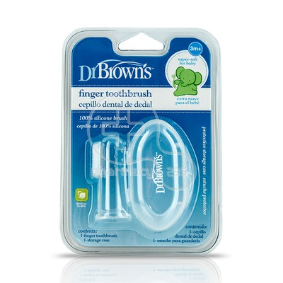 DR BROWN'S - Finger Toothbrush Βρεφική Δακτυλική Οδοντόβουρτσα Σιλικόνης 3m+ HG010
