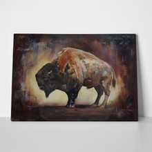 Standing side view buffalo oil painting 760195402 a
