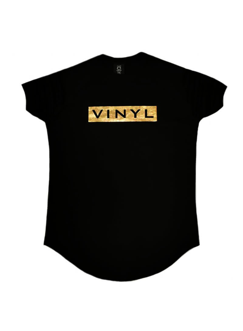 VINYL ART CLOTHING BLACK T-SHIRT WITH CHEST LOGO