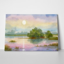 Watercolor landscape gentle sunrise over misty lake 70015171 a