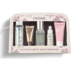 Caudalie Set French Beauty Secret Eau Micellaire Demaquillante, 30ml + Premier Cru La Creme Yeux, 5ml + Eau de Beaute, 30ml + Vinoperfect Serum Eclat du Teint, 10ml