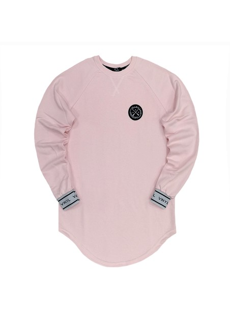 VINYL ART CLOTHING PINK SWEATSHIRT WITH LOGO DETAILS SLEEVES