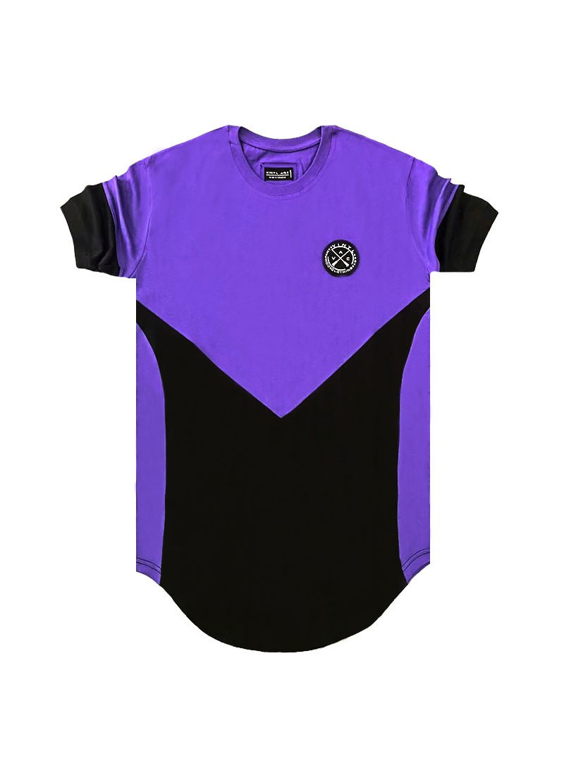 VINYL ART CLOTHING PURPLE/BLACK ASYMMETRIC CORE T-SHIRT