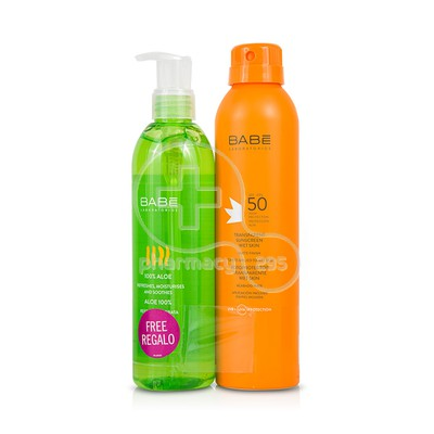BABE - PROMO PACK Transparent Sunscreen Wet Skin SPF50 - 200ml ΜΕ ΔΩΡΟ 100% Aloe - 300ml