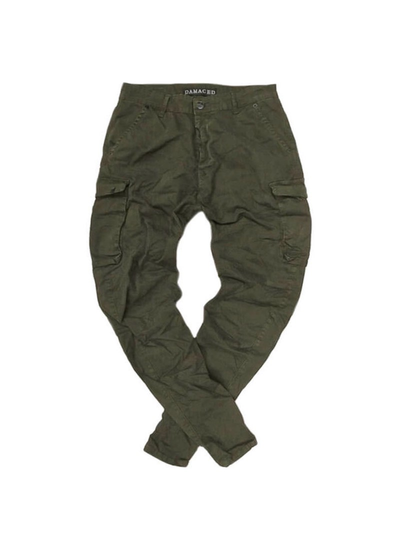 DAMAGED JEANS KHAKI CARGO PANTS R33C